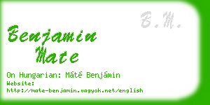 benjamin mate business card